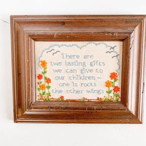 Vintage Inspirational Cross-Stitch in Wooden Frame